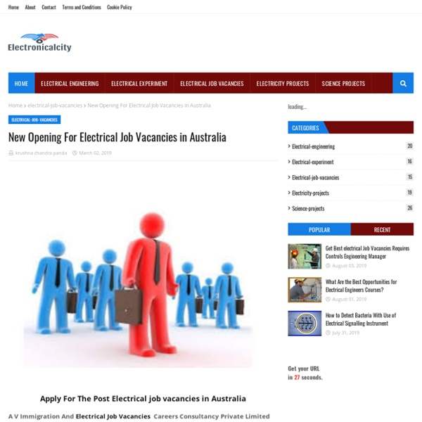 New Opening For Electrical Job Vacancies in Australia