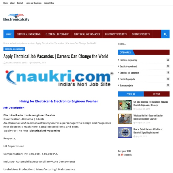 Apply Electrical Job Vacancies