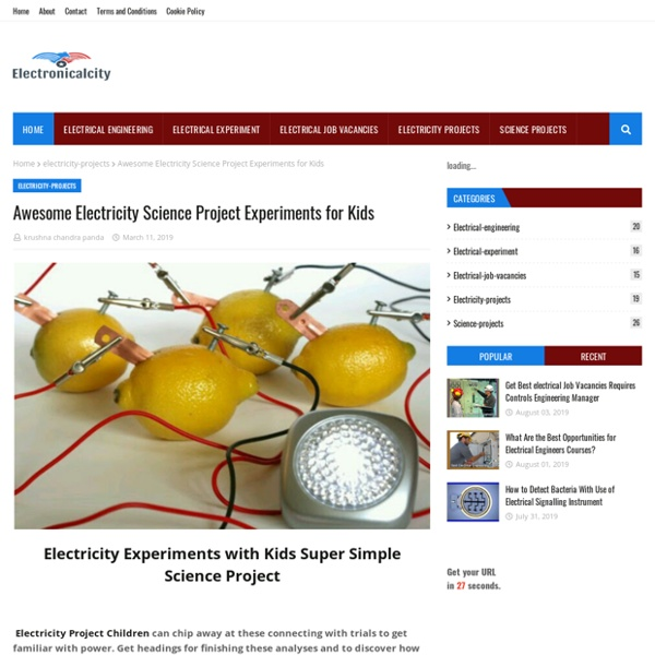 Awesome Electricity Science Project Experiments for Kids