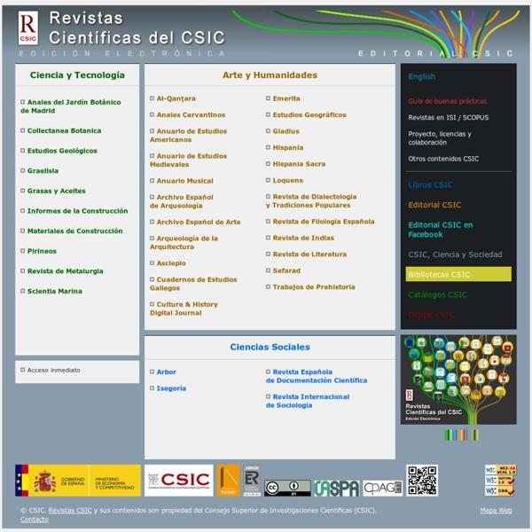 Revistas CSIC: revistas electrónicas del Consejo Superior de Investigaciones Científicas (CSIC)