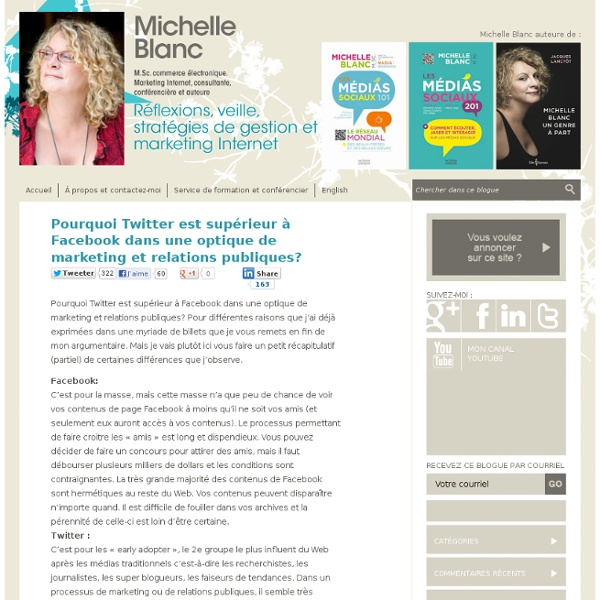 Pourquoi Twitter est sup?rieur ? Facebook dans une optique de marketing et relations publiques? ? Michelle Blanc, M.Sc. commerce ?lectronique. Marketing Internet, consultante, conf?renci?re et auteure