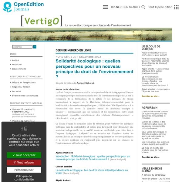 VertigO - la revue électronique en sciences de l'environnement