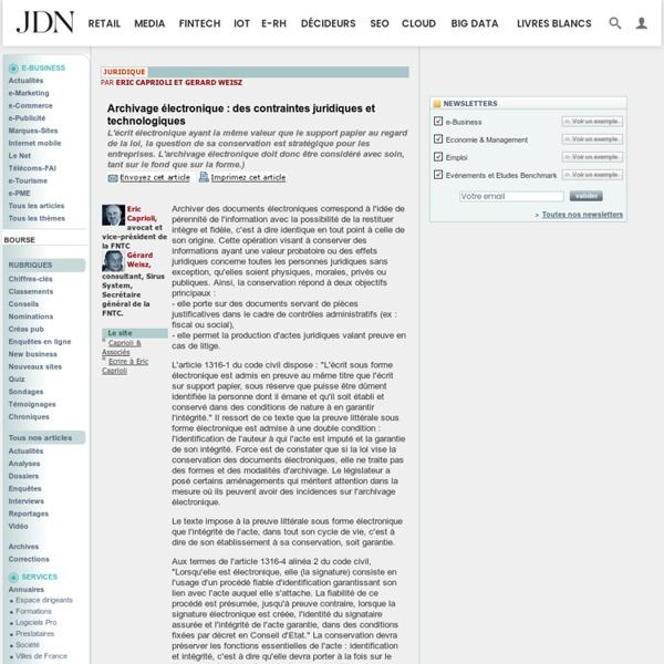 Archivage électronique : des contraintes juridiques et technologiques
