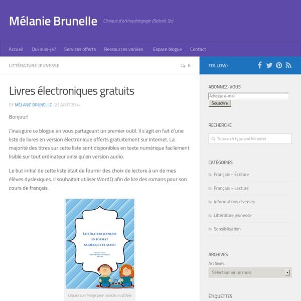 Livres électroniques gratuits - Mélanie Brunelle