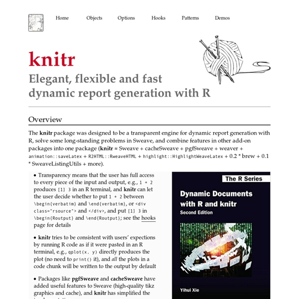 Knitr: Elegant, flexible and fast dynamic report generation with R