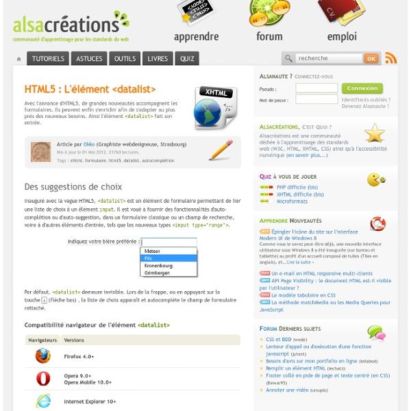 HTML5 : datalistes et sélecteurs