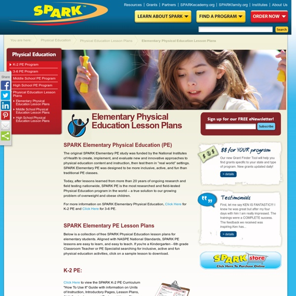 Free Elementary School (K-6) Physical Education Lesson Plans