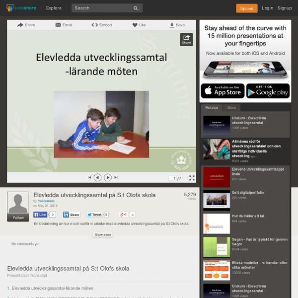 Elevledda utvecklingssamtal på S:t Olofs skola