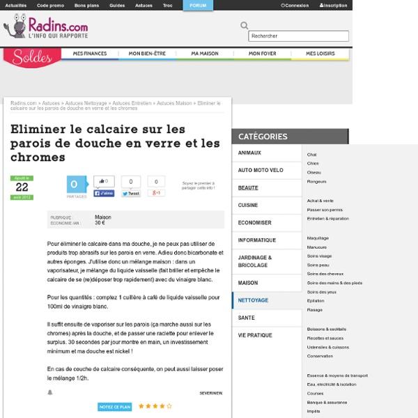Eliminer le calcaire dans la salle de bains sur Radins.com