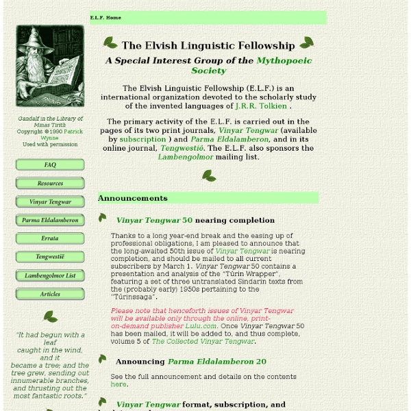 The Elvish Linguistic Fellowship