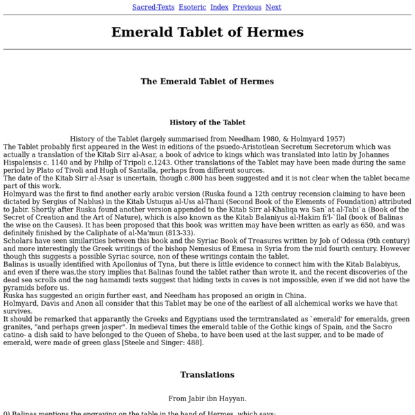 Emerald Tablet of Hermes