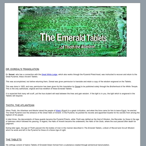 The Emerald Tablets of Thoth the Atlantean