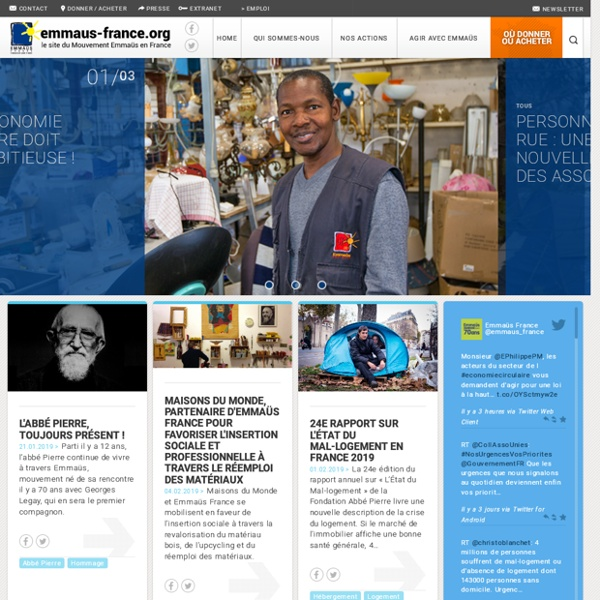 Emmaüs France.org, le site de tous les groupes Emmaüs de France.