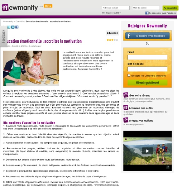 Education émotionnelle : accroître la motivation sur Newmanity