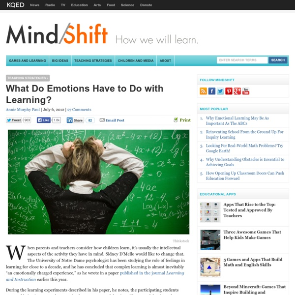 What Do Emotions Have to Do with Learning?