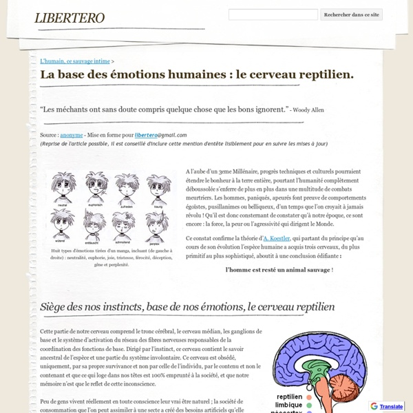 La base des émotions humaines : le cerveau reptilien. - libertero