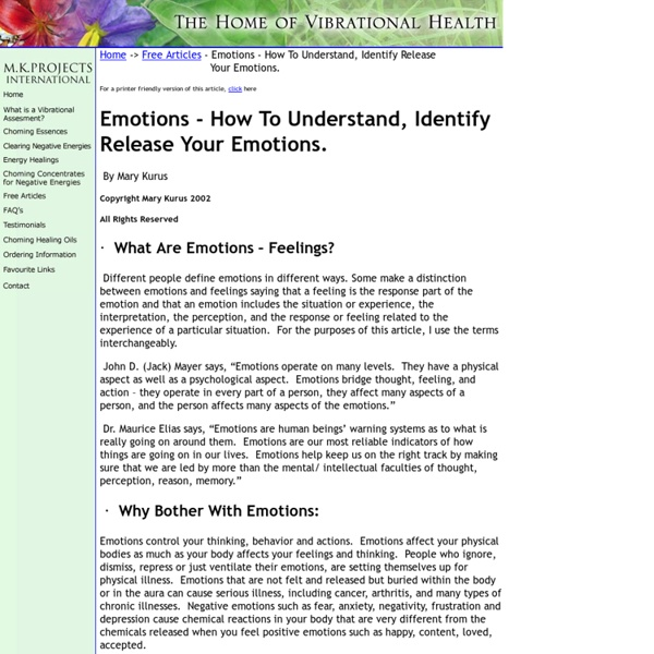 Emotions – How To Understand, Identify and Release Your Emotions