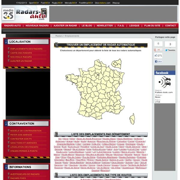 Emplacements des radars en France - Carte des radars - Radar automatique