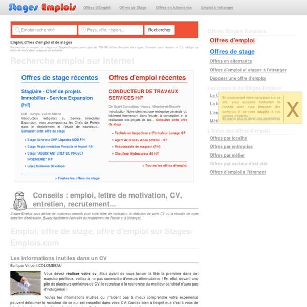 Emploi, offre de stage, offre d'emploi sur Stages-Emplois.com