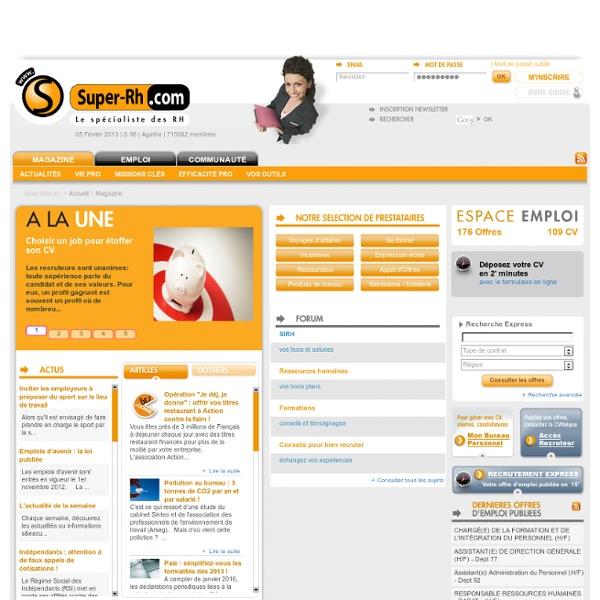 Emploi et Ressources pour les fonctions RH - Super-RH.com