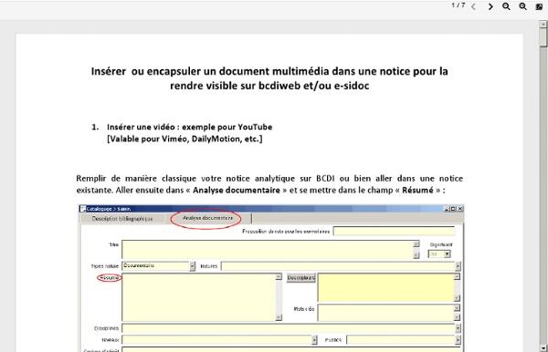 Encapsuler une vidéo ou un document dans une notice BCDI