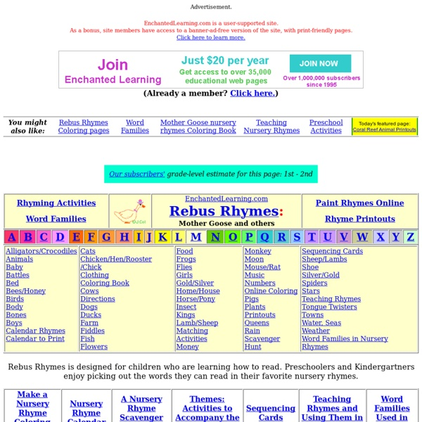 Mother Goose Rebus Rhymes-Enchanted Learning Software