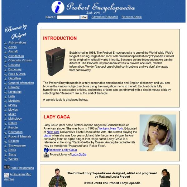 Probert Encyclopaedia - English Dictionary, Free Online Encyclopedia, Online Dictionary, Electronic Dictionary, Slang Dictionary