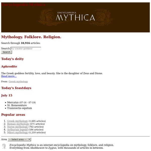 Encyclopedia Mythica: mythology, folklore, and religion.