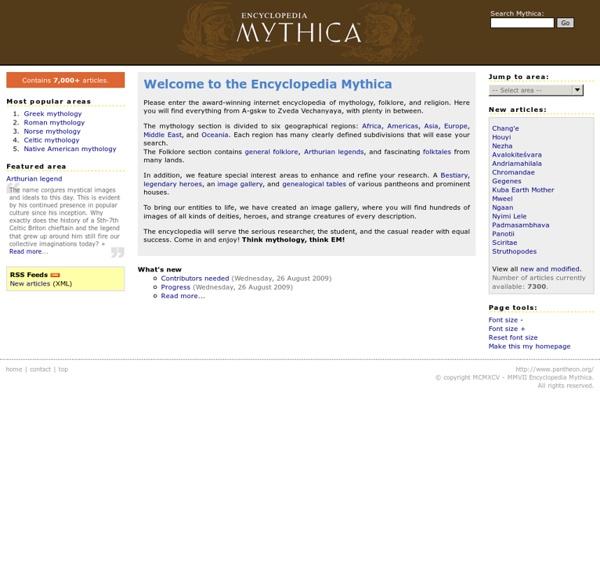 Encyclopedia Mythica: mythology, folklore, and religion.