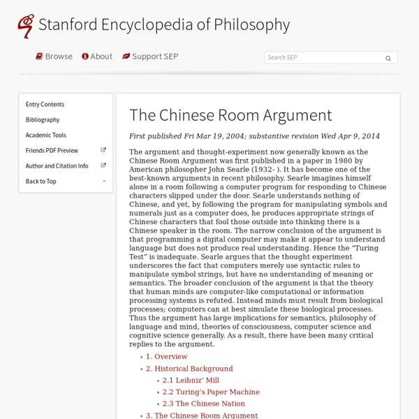The Chinese Room Argument Pearltrees