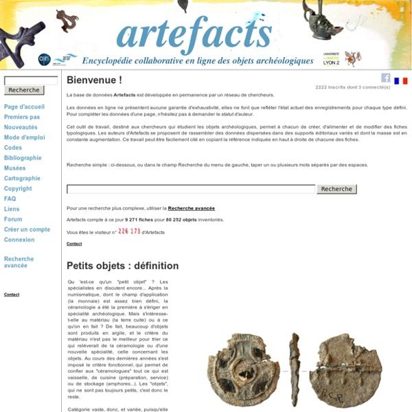 Artefacts - Encyclopédie en ligne des petits objets archéologiques