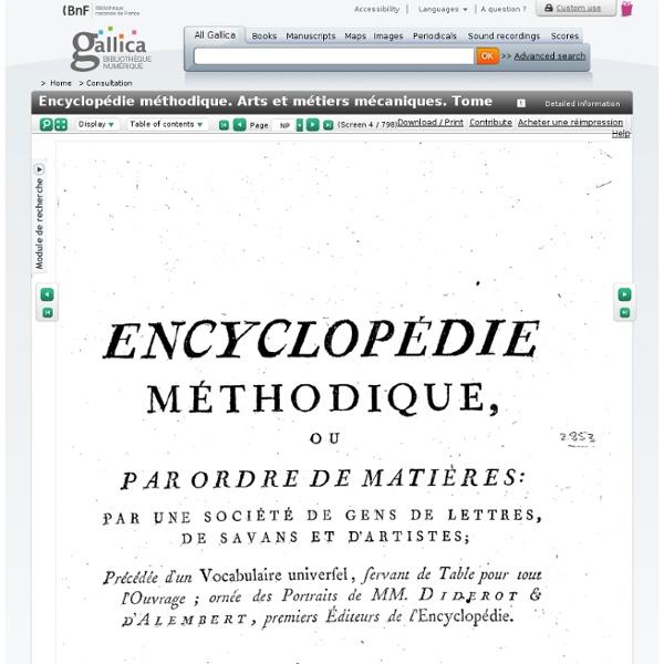 Encyclopédie méthodique. Arts et métiers mécaniques. Tome 1 / , [par Jacques Lacombe]
