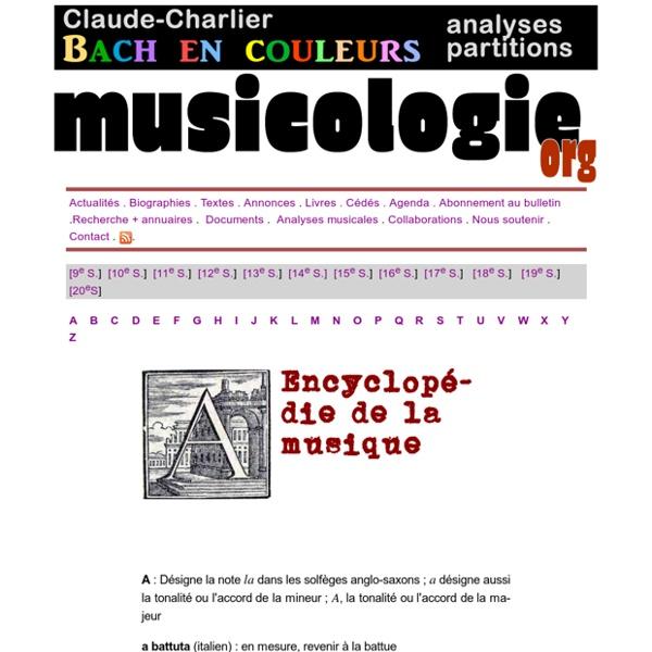 Encyclopédie de la musique : musicologie.org