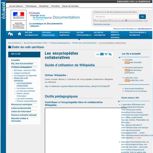 Les encyclopédies collaboratives — Documentation (CDI)