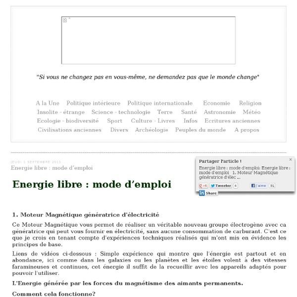 Energie libre : mode d'emploi