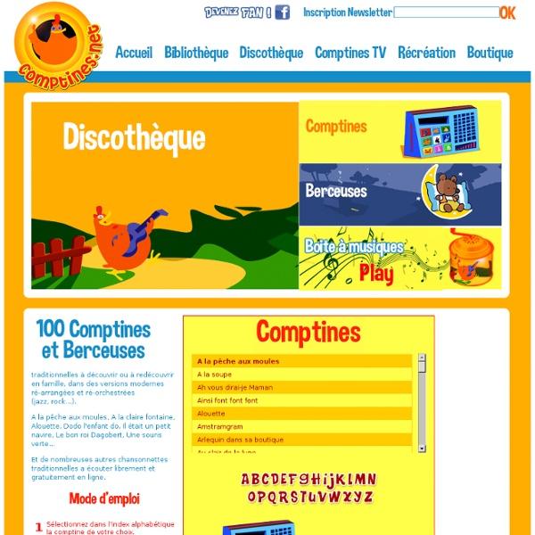 Paroles de Comptines et Berceuses pour enfants et bébés, Musiques enfantines, Jeux, Coloriages
