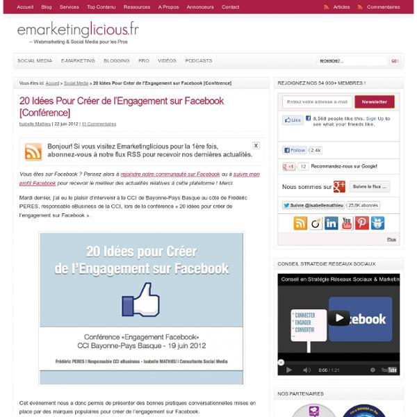 20 Idées Pour Créer de l'Engagement sur Facebook [Conférence]