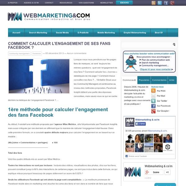Comment calculer l'engagement de ses fans Facebook ?