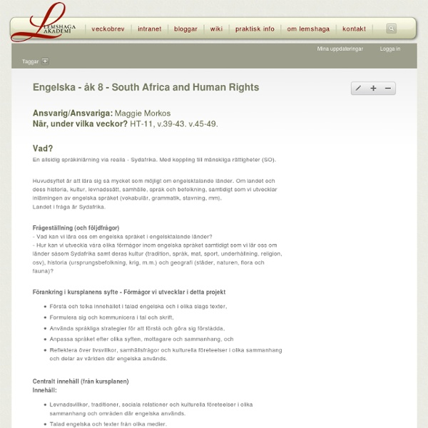 Engelska - åk 8 - South Africa and Human Rights