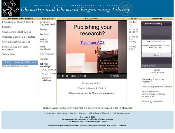 Chemistry & Chemical Engineering Library - University of California, Berkeley