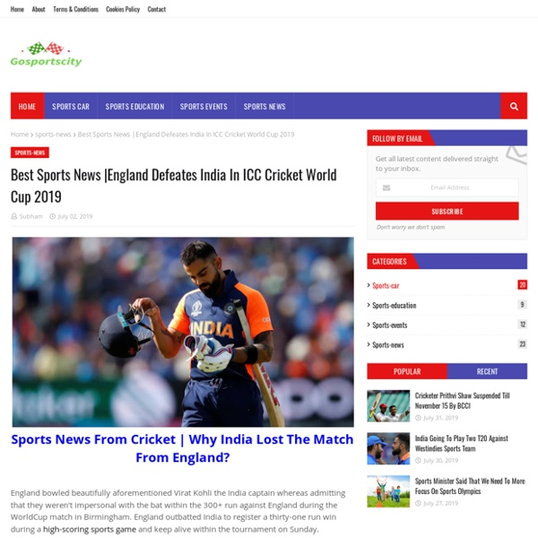England Defeates India In ICC Cricket World Cup 2019