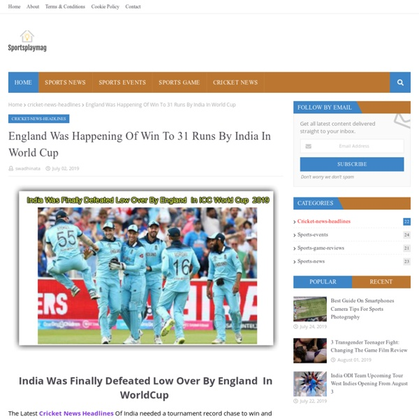 England Was Happening Of Win To 31 Runs By India In World Cup