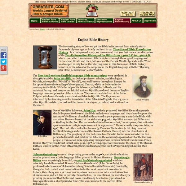 English Bible History: Timeline of how we got the English Bible