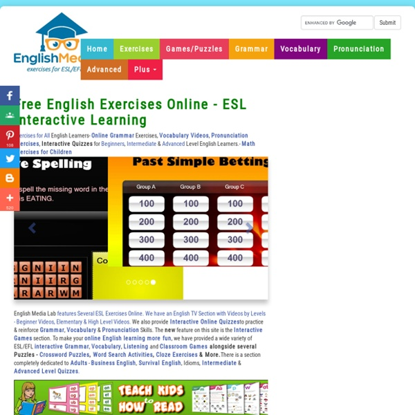 ESL, English Grammar Exercises, Video lessons,Quizzes, Vocabulary Exercises