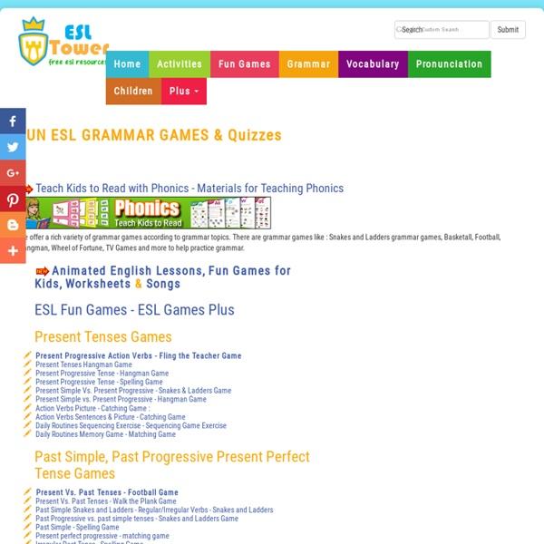 English Grammar Fun Games, Interactive ESL Quizzes