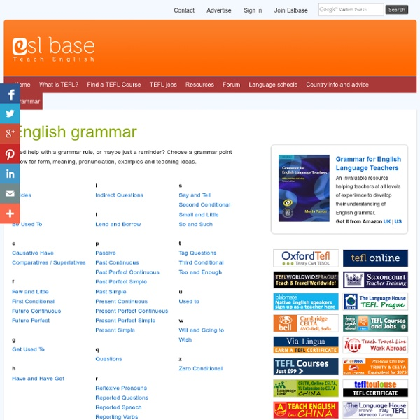 English Grammar rules and teaching ideas