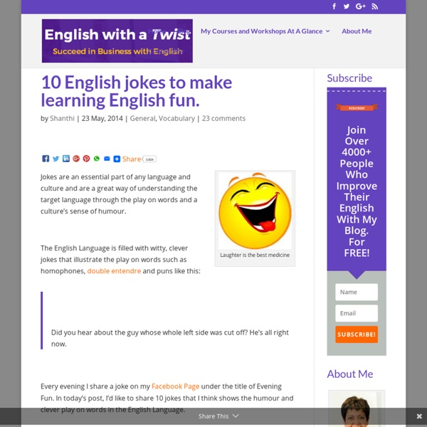10 English jokes to make learning English fun.