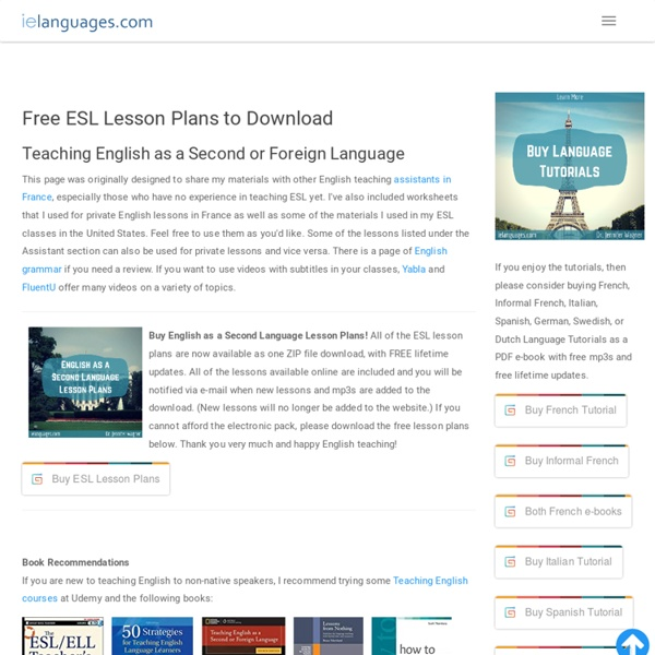 Free ESL (English as a Second Language) Lesson Plans to Download