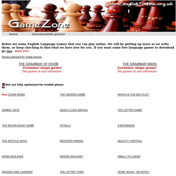 Games Zone - online English language games (learn English through games)