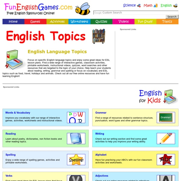 English Language Topics - Ideas for ESL Lesson Plans